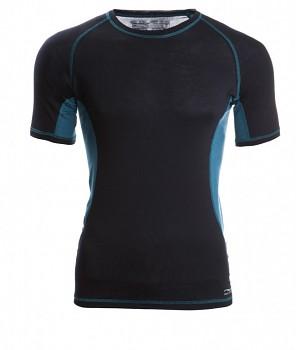Pánské sportovní tričko s kr. rukávy z bio merino vlny a hedvábí - černá/hydro