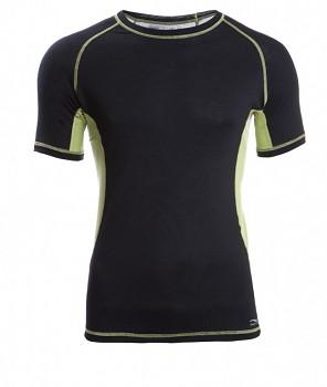 Pánské sportovní tričko s kr. rukávy z bio merino vlny a hedvábí - černá/lime