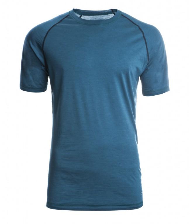 dcd27b7f96 Pánské sportovní tričko s kr. rukávy z bio merino vlny a hedvábí -  modrozelená hydro