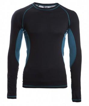 Pánské sportovní tričko s dl. rukávy z bio merino vlny a hedvábí - černá/hydro