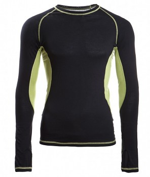 Pánské sportovní tričko s dl. rukávy z bio merino vlny a hedvábí - černá/lime