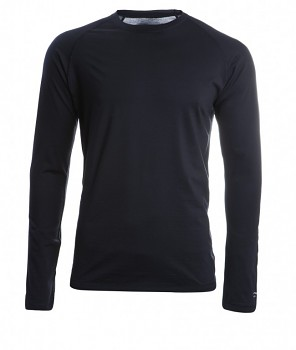 Pánské sportovní tričko s dl. rukávy z bio merino vlny a hedvábí - černá