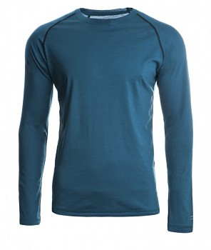 Pánské sportovní tričko s dl. rukávy z bio merino vlny a hedvábí - modrozelená hydro