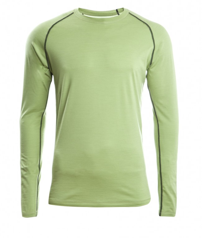 312dd78b1f Pánské sportovní tričko s dl. rukávy z bio merino vlny a hedvábí - zelená  lime