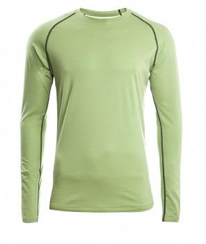 Pánské sportovní tričko s dl. rukávy z bio merino vlny a hedvábí - zelená lime