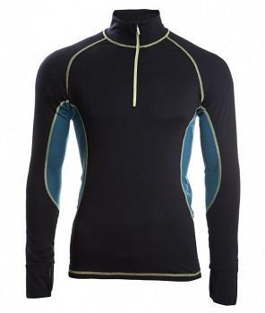 Pánské běžecké tričko s dl. rukávy z bio merino vlny a hedvábí - černá