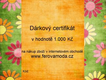 Dárkový certifikát v hodnotě 1.000 Kč