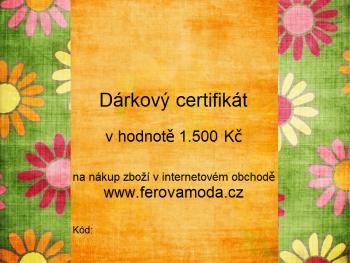 Dárkový certifikát v hodnotě 1.500 Kč