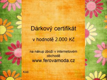 Dárkový certifikát v hodnotě 2.000 Kč