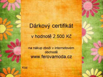 Dárkový certifikát v hodnotě 2.500 Kč
