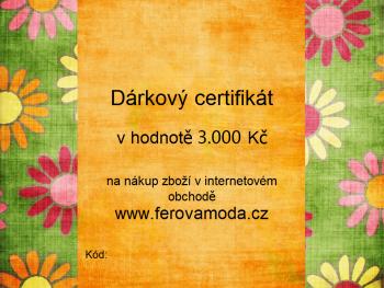 Dárkový certifikát v hodnotě 3.000 Kč