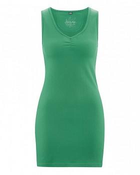 AMY Dámské minišaty z konopí a biobavlny - zelená smaragdová
