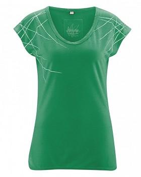 SABINE dámský top z konopí a biobavlny - smaragdová