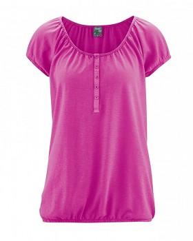 CLARA dámské triko s krátkým rukávem z konopí a biobavlny - růžová candy