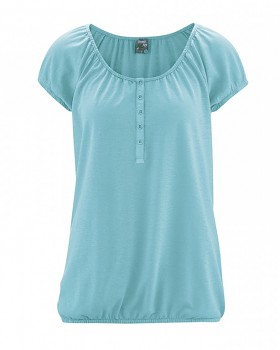 CLARA dámské triko s krátkým rukávem z konopí a biobavlny - tyrkysová