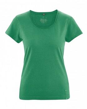 BREEZY dámské triko s krátkým rukávem z konopí a biobavlny - zelená smaragdová