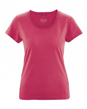 BREEZY dámské triko s krátkým rukávem z konopí a biobavlny - červená tomato