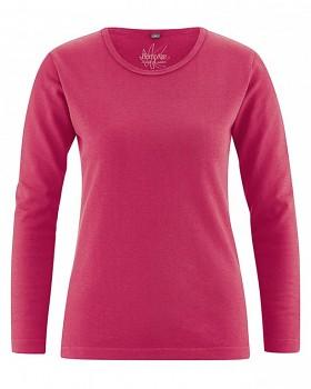 NAOMI dámské triko s dlouhým rukávem z konopí a biobavlny - červená tomato