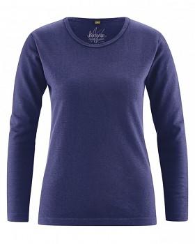 NAOMI dámské triko s dlouhým rukávem z konopí a biobavlny - modrá night
