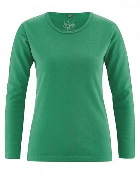 NAOMI dámské triko s dlouhým rukávem z konopí a biobavlny - zelená smaragd