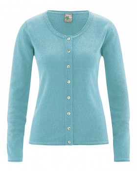 LOLA dámský pletený svetr z konopí a biobavlny - tyrkysová