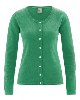 LOLA dámský pletený svetr z konopí a biobavlny - zelená smaragdová