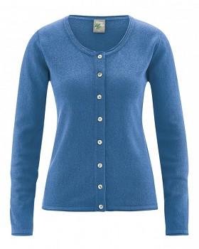 LOLA dámský pletený svetr z konopí a biobavlny - modrá sea