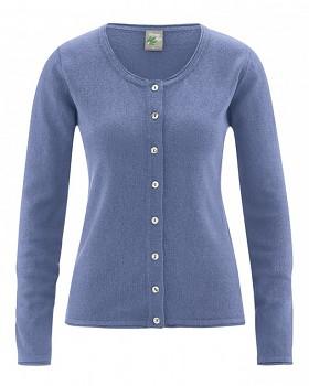 LOLA dámský pletený svetr z konopí a biobavlny - modrá borůvková