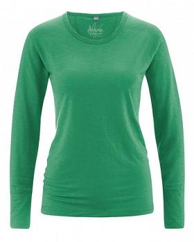 HANNAH dámské triko s dlouhým rukávem ze 100% konopí - zelená smaragdová