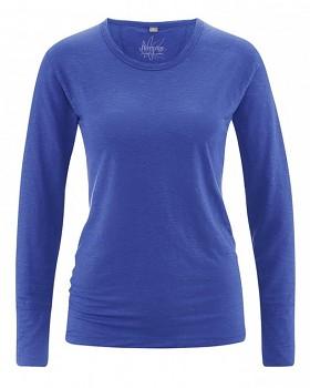 HANNAH dámské triko s dlouhým rukávem ze 100% konopí - modrá chrpová