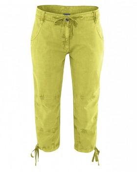 RONJA 7/8 capri kalhoty z konopí a biobavlny - zelená apple