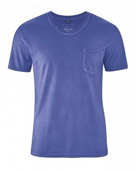 RONALDO pánské tričko z biobavlny a konopí - modrá chrpová