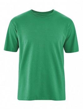 OTTFRIED pánské tričko s krátkým rukávem z biobavlny a konopí -  zelená smaragdová