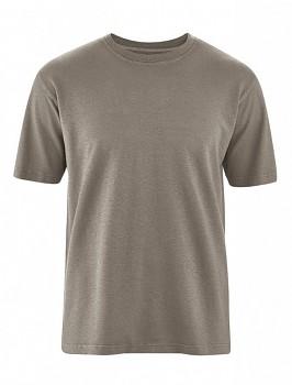 OTTFRIED pánské tričko s krátkým rukávem z biobavlny a konopí -  hnědá bark