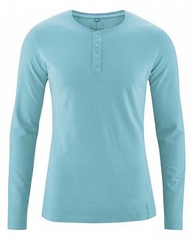 SLY pánské tričko s dlouhým rukávem z konopí a biobavlny - tyrkysová