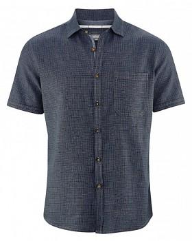HEATH pánská košile s krátkým rukávem z biobavlny a konopí - tmavě modrá wintersky