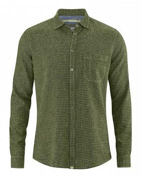 PAT pánská košile z konopí a biobavlny - zelená laurel
