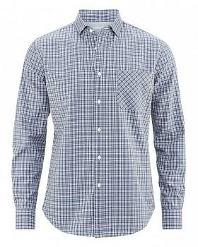 BUTCH pánská košile z biobavlny a konopí - modrá kostka