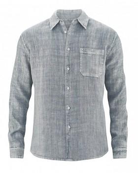 BILLY pánská košile ze 100% konopí - šedá aloe