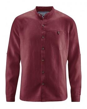 NOAH pánská košile ze 100% konopí - červenohnědá chestnut