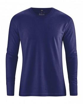 DIEGO pánské tričko s dlouhým rukávem z biobavlny a konopí - tmavě modrá night