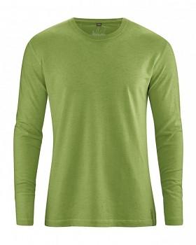 DIEGO pánské tričko s dlouhým rukávem z biobavlny a konopí - zelená weed