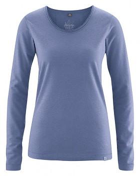 LENE dámské triko s dlouhými rukáv z konopí a biobavlny - modrá borůvková