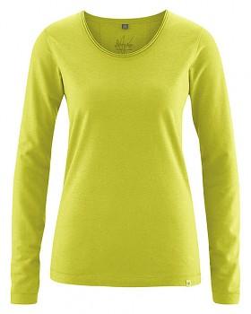LENE dámské triko s dlouhými rukáv z konopí a biobavlny - zelená jablková