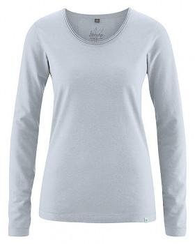 LENE dámské triko s dlouhými rukáv z konopí a biobavlny - světle šedá platinová