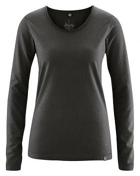 LENE dámské triko s dlouhými rukáv z konopí a biobavlny - černá
