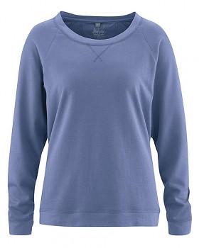 GWEN dámské triko s dlouhými rukávy z konopí a biobavlny - modrá borůvková