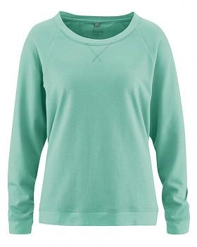 GWEN dámské triko s dlouhými rukávy z konopí a biobavlny - zelená nefritová