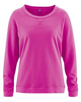 GWEN dámské triko s dlouhými rukávy z konopí a biobavlny - růžová candy