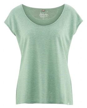 SALLY dámské triko s krátkým rukávem z konopí a biobavlny - zelená nefritová melange